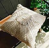 DUIPENGFEI Crochet Hecho A Mano De Algodón Puro Estilo Pastoral Europeo Cojín De Sofá Súper Suave Funda De Almohada Funda De Cojín De Almohada, Beige, 45 * 45 Cm