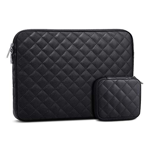 AtailorBird Laptop Sleeve 15.6 Inch, Waterproof PU Leather Diamond Shaped Notebook Protective Bag with Small Case for Cable Earphone, Black