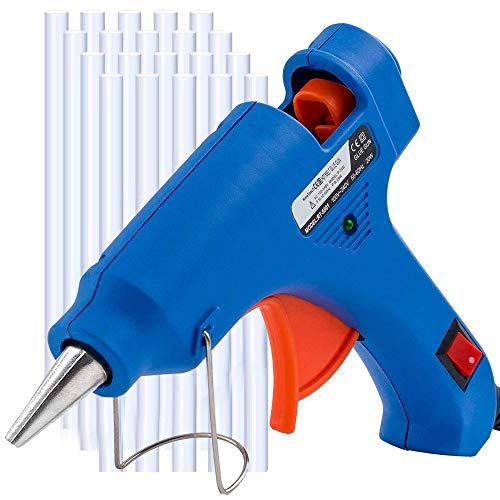 MYFOXI Hot Glue Gun Kit with 25 Refill Sticks – 20W High Temp Gluing Pen for Crafts, Jewelry Making, Wood Art, Fabric – Small Mini Glue Gun Safe for Kids – On Off Safety Switch, Stand, No Drip Tip