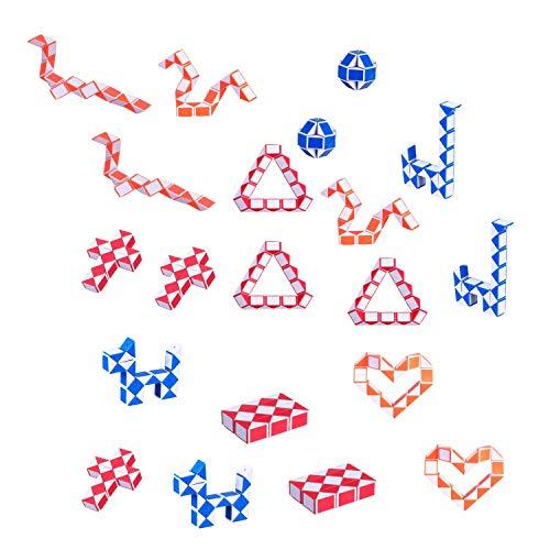 Shuny 20 Piezas de Mini Serpiente de Cubo de 24 Bloques,Mini Speed Cubes,Mini Puzzle Rompecabezas de Plástico Juguete,Snake Twist Puzzle Toys,Color Aleatorio