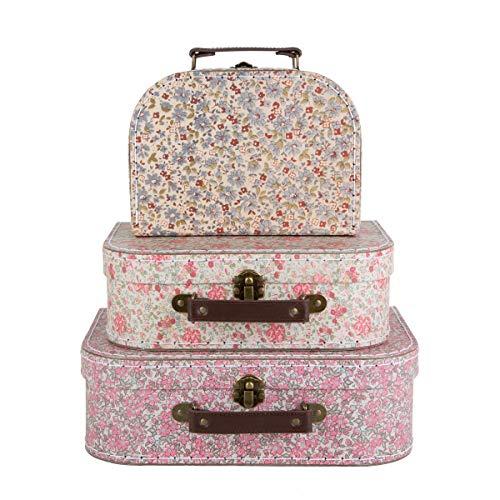 3 X Vintage Floral stunning storage suitcases