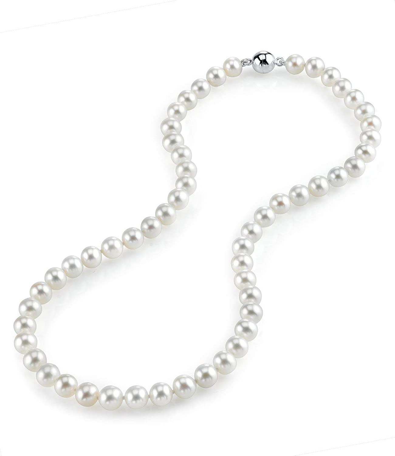 THE PEARL SOURCE AAA Quality Round White Freshwater Cultured Pearl Necklace for Women with Magnetic Clasp