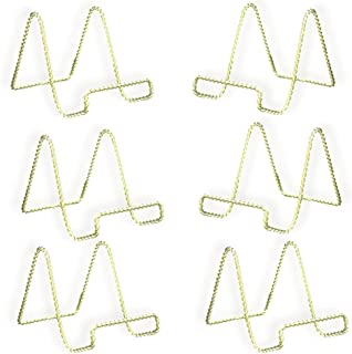 BANBERRY DESIGNS Wire Easel Display Stand - Twisted Brass Metal - 4 Inch - Pack of 6…