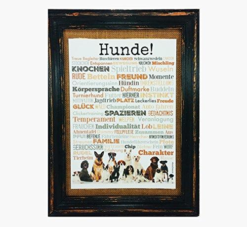 honden! Print Poster A4 Geschenk AnneSvea Typo Deco Dogs Labrador Bulldog Golden Retriever
