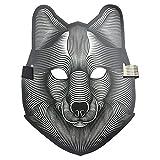 lulalula Sound Reactive LED-Maske leuchten Musikmaske Cosplay Glowing Maske für Halloween Christmas...