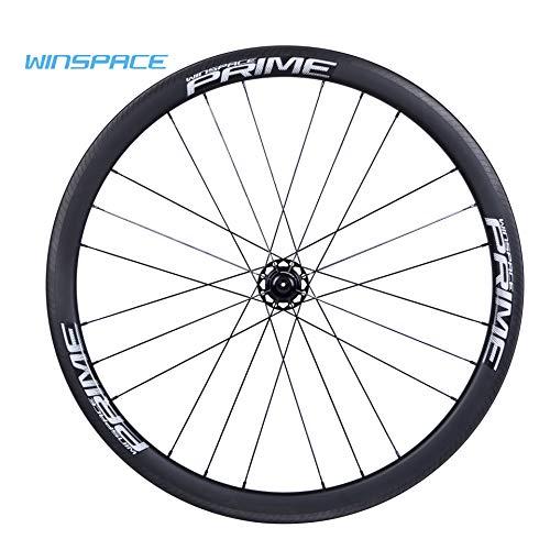 Winspace 700C - Juego de ruedas de carbono para bicicleta de carretera (30 mm, ruedas tubulares), color blanco, tamaño 30mm tubular