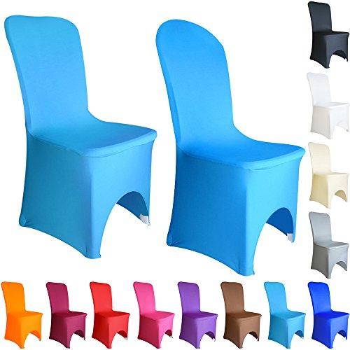 Time to Sparkle Lot de 50 Housse de Chaise Extensible en élasthanne Lycra Couverture Chaise pr Décoration Mariage Cérémonie Banquet Arqué Devant (Aqua Bleu)