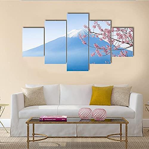 NNNLX Lienzo 5 Piezas Moderno, montaña Nevada y Flor de Cerezo en el Lago kawaguchiko,Impresiones En Lienzo, Salon Grandes Cuadros para Dormitorios Modernos Mural Pared Listo para Colgar