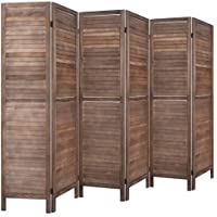 Rose Home Fashion RHF 6 Panel 5.6 Ft Tall Wood Folding Room Divider (Brown)