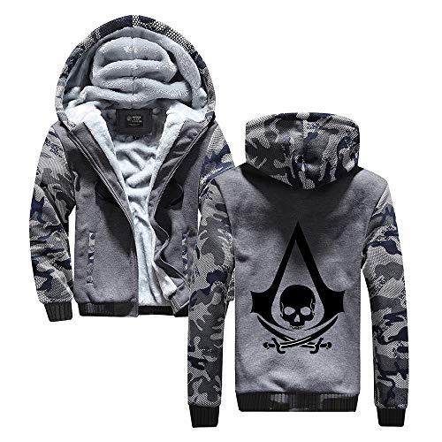 HOOMOLO Assassin's Creed Pullover Mantel mit Kapuze Herren Plus Samt-Oberbekleidung mit Reißverschluss verdicken Freizeit Sport Teenager-Jacke Unisex (Color : Grey12, Size : XL)