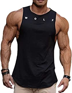 GAGA Men's Fitted Muscle Cut Workout Tank Top Gym Bodybuilding T-Shirts