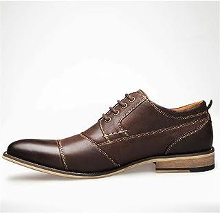 Negocio formal Oxford para hombres moda zapatos de ocio vestido zapatos clásicos encaje de cuero genuino de cuero puntiagu...
