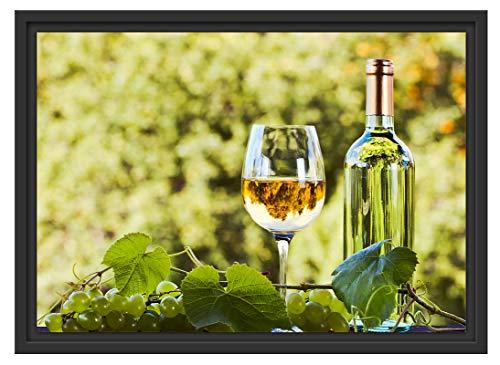 Picati Wein und Weintrauben im Schattenfugen Bilderrahmen/Format: 55x40 im Schattenfugen-Bilderrahmen/Kunstdruck auf hochwertigem Galeriekarton/hochwertige Leinwandbild Alternative