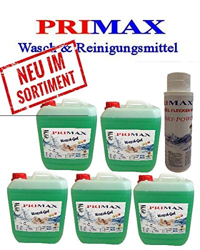 5x5 L Primax Flüssigwaschmittel grün mit Ausgießer u.Waschkraftverstärker Waschgel Konzentrat ähnl.Waschpulver Power Aktiv
