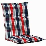 Kettler Polen K2128 Gartenpolster Auflagen für Sessel Niederlehner in Blau-Grau kariert Stapelstuhl Gartenpolster