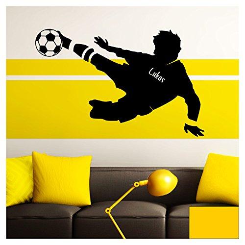 Grandora Wandtattoo Fußballspieler Wunschname I gelb (BxH) 58 x 37 cm I Fußball Kinderzimmer Wohnzimmer Sticker Aufkleber Wandaufkleber Wandsticker W5035