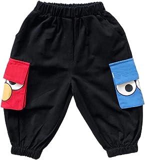 HOSD Ropa para niños nuevos Pantalones Infantiles de Dibujos Animados Bolsillo Grande Negro Herramientas Pantalones Casuales