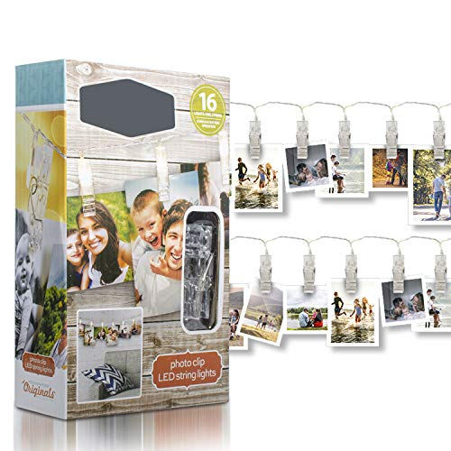 LED Battery Operated Photo Clip String Lights - 16 pcs Set Battery Powered String Hanging Light Decorations - Indoor Outdoor Lighting for Home Bedroom Wall Patio Deck Garden Backyard Party Decor