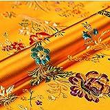 Tela De Seda De Imitación De Satén Vintage Brocado De Damasco Flor De Begonia China para Manualidades Bricolaje Patchwork Costura Traje Envoltura Mantel Tapicería Acentos 75X50cm(Color:11 Orange)