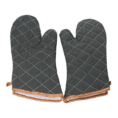 WanBeauty 1 par de guantes para hornear a cuadros, antideslizantes, antiquemaduras, para cocina, cocina, hornear, parrilla, microondas, barbacoa gris