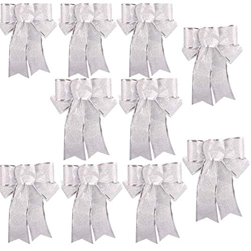 Amatt Christmas Glitter Bow Decorations - 10 pcs Large Bow Shinny Bowknot Christmas Tree Ornament for Christmas Tree, Party, Garland,Wreath, Gifts, Table, Xmas Home Decor etc (Silver)
