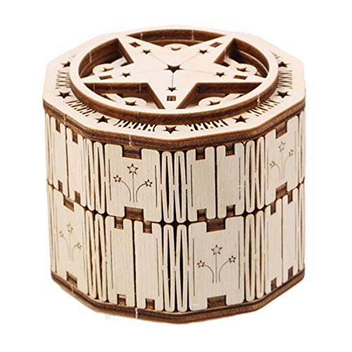 Tollmllom Caja de Música de Juguete Caja de música Caja de Anillo Montaje de Madera Modelo 3D Rompecabezas Tridimensional Regalos para Niños (Color : Beige, Size : 9x9x8cm)
