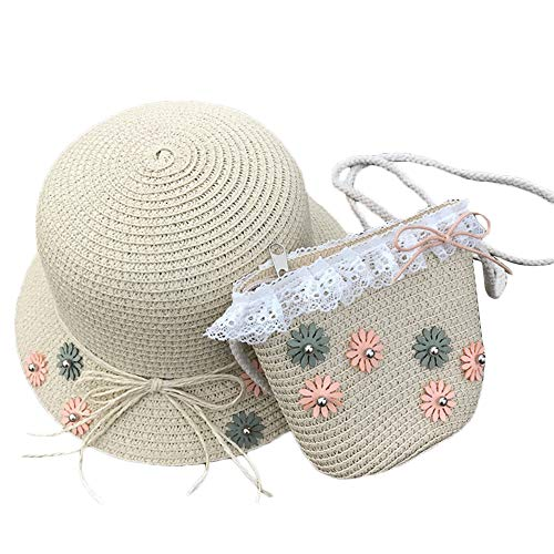 Sombrero de Paja y Bolsa de Paja para niñas Sol Playa Flor Floppy Hat Juego de Bolsos Lovely Children Party Summer Caps Vestir Hat Purse Sets (Beige)