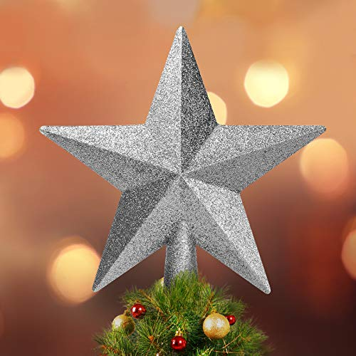 Balhvit 8' Christmas Tree Topper Fit Most Trees, 3D Shatterproof Glitter Christmas Star Tree Topper, Festive Christmas Tree Decoration for Home Décor/Holiday Ornament(Silver)