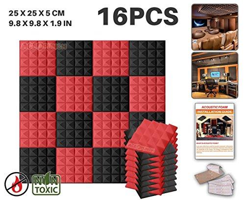 Ace Punch 16 Paquete 2 Colores Espuma Pirámide de Combinación Acústica Panel Para Aislamiento Acústico de Sonido de Tratamiento de Amortiguadores con Cinta de 25 x 25 x 5 cm Negro y Rojo AP1034