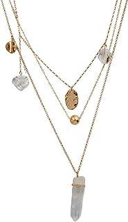 b4196ef50e45 LuckyLy – Collares Largos de Mujer Moda Francis – Collares con Piedras Mujer  de 3 Capas