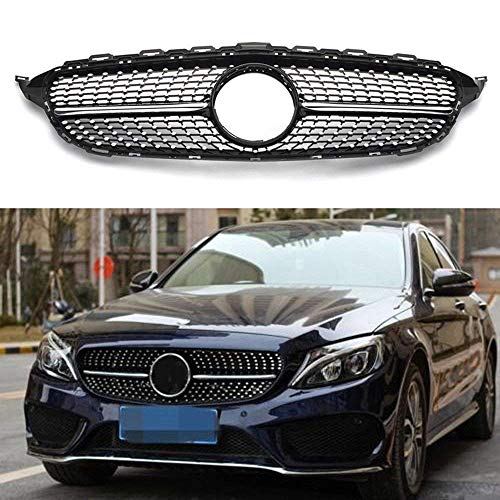 MOTORFANSCLUB Hood Grille Front Grill Fits for Mercedes Benz C Class C200 C250 C300 C350 W205 2015-2018 AMG GT R Style Grill (black)