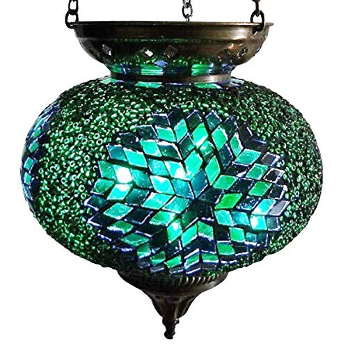Moroccan Turkish Mosaic Hanging Lamp Hanging Candle Holder Hanging Candle Holder Lamp Table Or Desk Lamp Lamps Bronze Effect Handmade Unique Crushed Glass Tiffany Style Turkish Moroccan Lamp Green