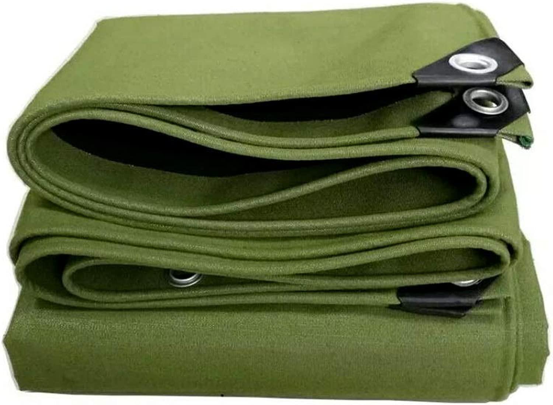 ZX タープ 厚くする 耐摩耗性 キャンバス 防水 日焼け止め ターポリン アウトドア サンバイザー 防雨 シェードクロス テント アウトドア (Color : 緑, Size : 5x7m)