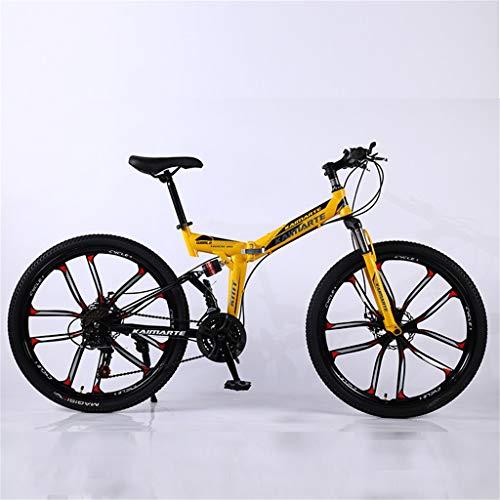 Hörsein Plegable de 24 Pulgadas 26 Pulgadas Bicicleta de montaña para Adultos Regalo de cumpleaños Fuera de la Carretera de la Cola Suave Bicicleta, etc,E,26 Inch 24 Speed