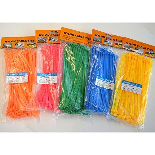 500 Stück Kabelbinder in bunt 4,8 x 200 mm, je 100 Stück in Grün - Blau - Gelb - Orange - Pink