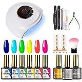 RSTYLE Kit Uñas Semipermanentes Completo 9PC Soak off Lámpara 36W LED/UV con Esmaltes de Uñas Gel Desnudo Rojo Clásico para Uña Arte o Salones Azul