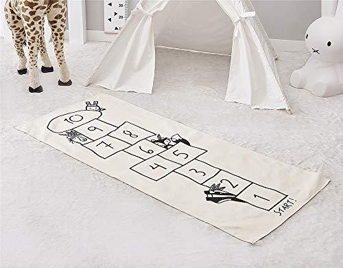 Kinderteppich Spielteppich Teppich Kinderzimmer, Spielmatte mit Straße für Kinder Krabbeldecke Spieldecke Schwarzweiß Rennbahn (Hüpfspiel)