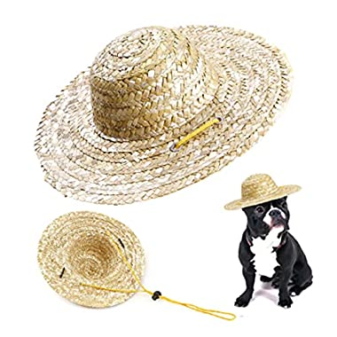 1pcs Pet Dog Cat Straw Hat Handcrafted Woven Sun Hat Puppy Supplies Pet Accessories Photography Props Outdoor Dogs Cats…