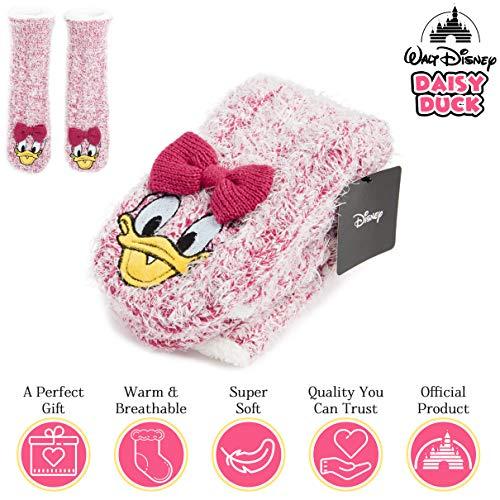 Disney Calcetines Antideslizantes Invierno Mujer Con Personajes Stitch Mickey Minnie, Zapatillas de Punto Forro Polar Para Estar Por Casa, Regalos Para Mujeres Chicas (Rosa)