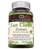Nutri Essentials Tart Cherry Extract Capsules - Anti-Inflammatory, Anti-oxidant Joint Support - Promotes Healthy Uric Acid Levels - Supports Regular Sleep Cycle -120 Count, 2000 Mg