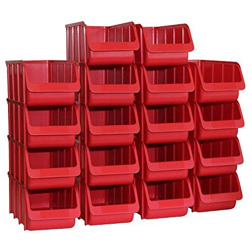 18er Set Sichtboxen PP Gr. 2/L rot NEU 215/185x100x75mm Sichtbox 18 Stapelboxen