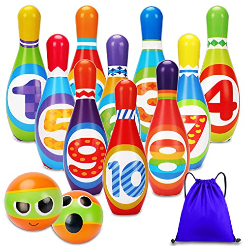 Kids Bowling Set Toddlers Toys 10 Indoor Colorful Soft Foam Pins 2 Bowling Balls Printed with Number Developmental Outdoor Toys Sport Outside Gift for Baby Boys Girls Age 2-4 2 3 4 5 Years Old