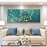 Cuadro famoso de Van Gogh, reproducciones de flores de almendro en flor, arte de pared de arte mundial, imagen para decoración de pared del hogar, 40x100 cm sin marco