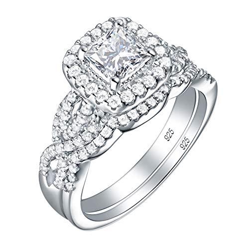Wuziwen Princess Cut Engagement Ring Wedding Band Set 925 Sterling Silver Cubic Zirconia Cz Size 7