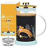 Coffee Maker Small, TOPTIER Coffee Makers French Press with 304 Stainless Steel Filter and Heat Resistant Borosilicate Glass, Small French Press Glass Tea Maker for 12 oz, Happy Tiger, Gold and Blue