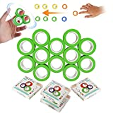 12 Rings Magnetic Ring Finger Spinner Fidget Spinner for Kids Adult Bracelet Bearing Ring Unzip Toy Stress Relief Reducer Spin for Autism ADHD, Decompression Artifact Toys for Children Adult, Green