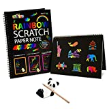 Fricon 5-10 Year Old Girls Gifts, Arts and Crafts for Girls Age 5-10 Create Rainbow Scratch Art for Kids Paper Pad Birthday Gifts for 5-10 Year Old Boys Girls Scratch Art KMUSRSP01