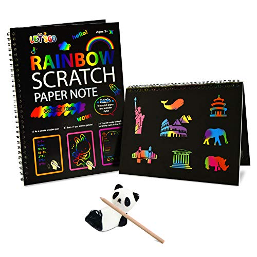 Fricon 3-10 Year Old Girls Gifts, Arts and Crafts for Girls Age 5-10 Create Rainbow Scratch Art for Kids Paper Pad Birthday Gifts for 3-10 Year Old Boys Girls Scratch Art