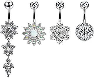 Simplylin 4Pcs Women Crystal Rhinestone Flower Navel Belly Button Ring Bar Body Piercing