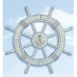 HS 24 Distressed White Wood Nautical Ship Wheel